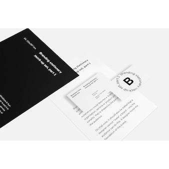 Cartão de visita e maquete do folheto