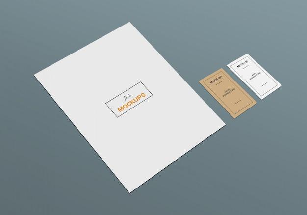 Cartão de visita e mock-up de página a4