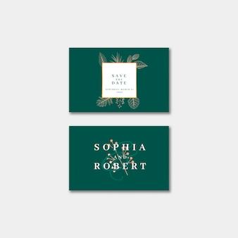 Cartão de visita elegante do convite do casamento com conceito da natureza