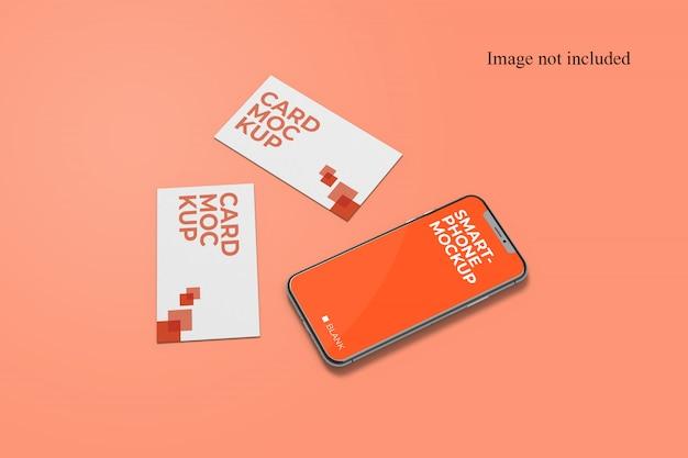 Cartão de visita elegante e maquete de smartphone