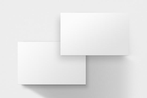 Cartão de visita em branco em tom branco com vista frontal e traseira