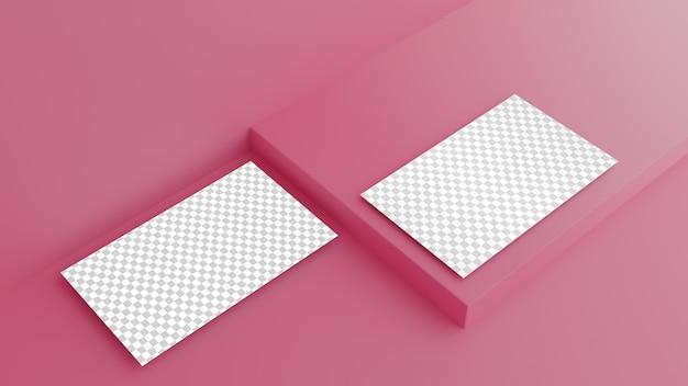 Cartão de visita em fundo rosa