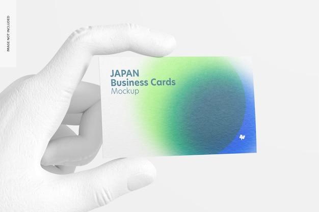 Cartão de visita horizontal com maquete de mão