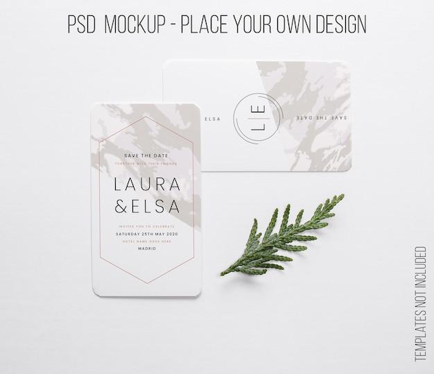 Cartão de visita horizontal e vertical com composição em miniatura