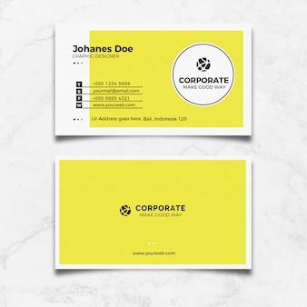 Cartão de visita limpo amarelo