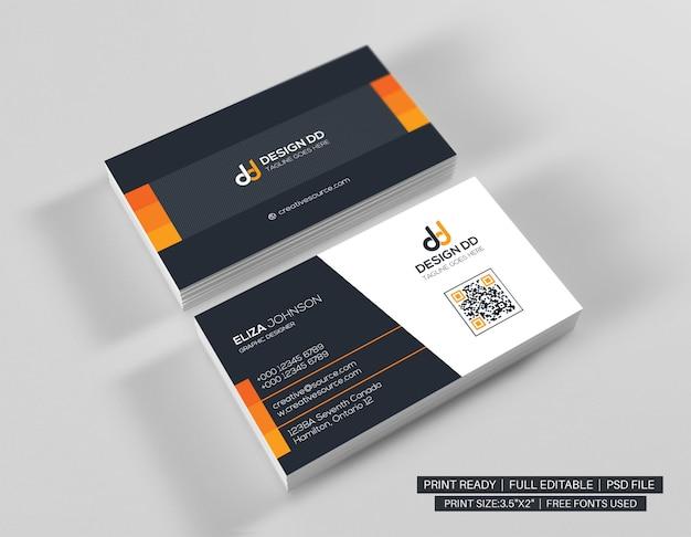 Cartão de visita limpo laranja