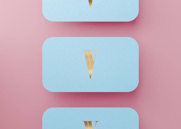 Cartão de visita luxuoso da imprensa de ouro azul para a identidade da marca renderização em 3d