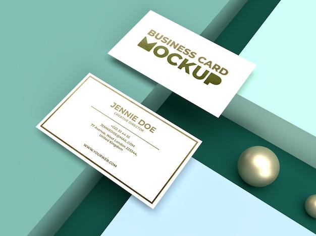 Cartão de visita minimalista simples com maquete de textura brilhante e luxuosa