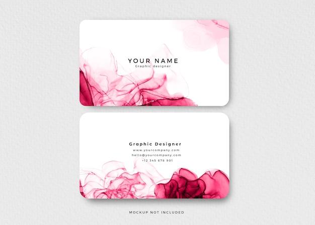 Cartão de visita moderno com tinta alcoólica rosa