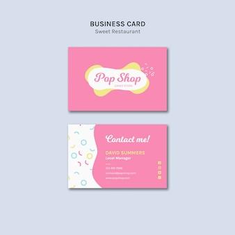 Cartão de visita para design de loja de doces pop