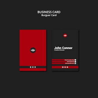 Cartão de visita para restaurante de hambúrguer