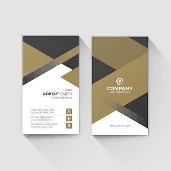 Cartão de visita pessoal vertical com fundo geométrico de ouro