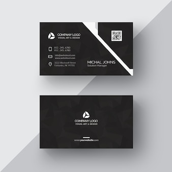 Cartão de visita preto com detalhes em prata