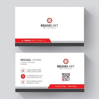 Cartão de visita profissional com detalhes vermelhos