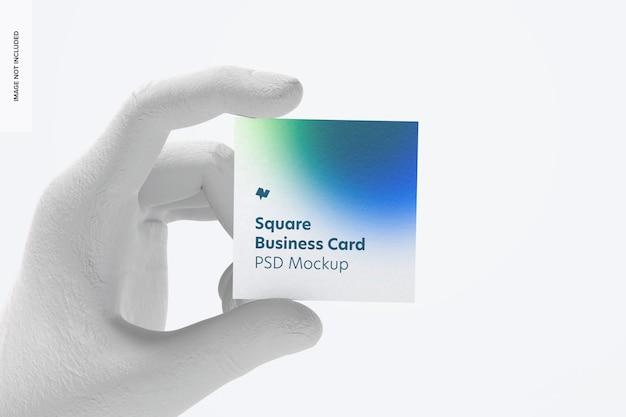Cartão de visita quadrado com maquete de mão