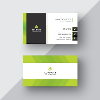Cartão de visita verde e branco