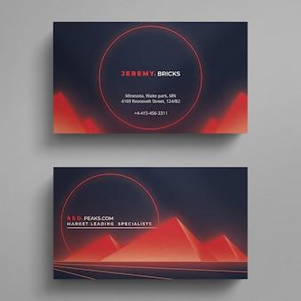 Cartão de visita vermelho e azul moderno