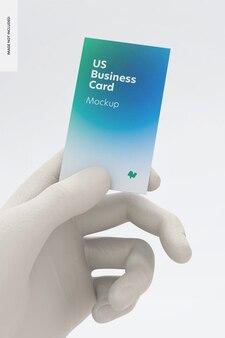 Cartão de visita vertical com maquete de mão