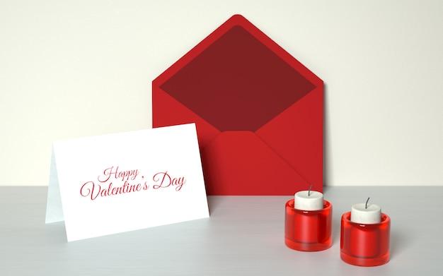 Cartão do dia dos namorados com velas