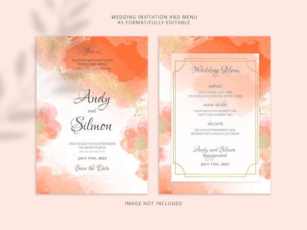 Cartão e menu de casamento em aquarela laranja e dourado