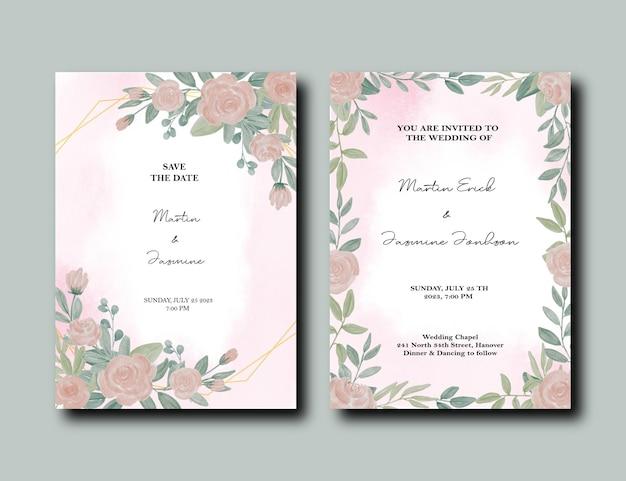 Cartão em aquarela com rosas e moldura de ouro