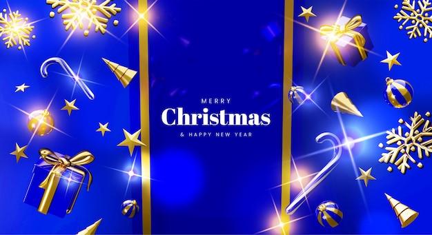Cartão moderno de feliz natal com natal 3d realista
