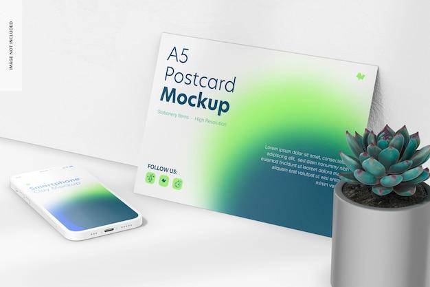 Cartão postal a5 com maquete de smartphone