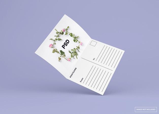 Cartão postal dobrado aberto, maquete de cartão de convite