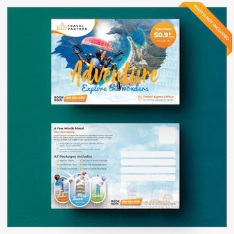 Cartão postal modelo panfleto de viagens e férias