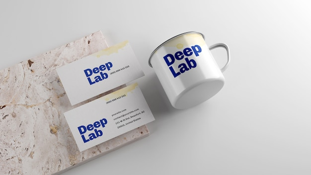 Cartão premium com maquete de caneca de esmalte branco