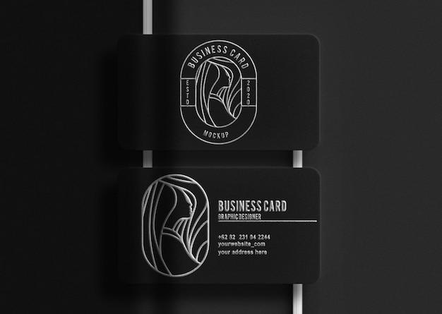Cartão preto de luxo com maquete em relevo