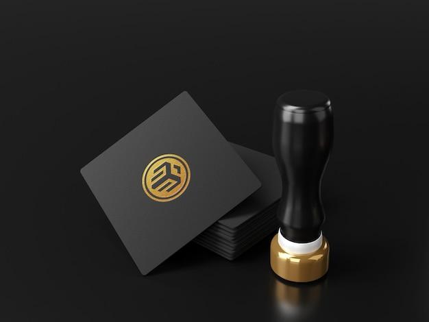 Cartão quadrado de maquete de logotipo de luxo com carimbo