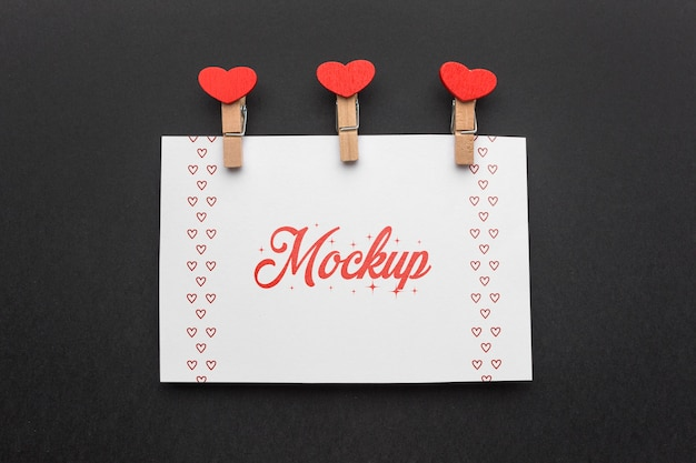 Cartão retangular de mock-up de dia dos namorados com vista superior