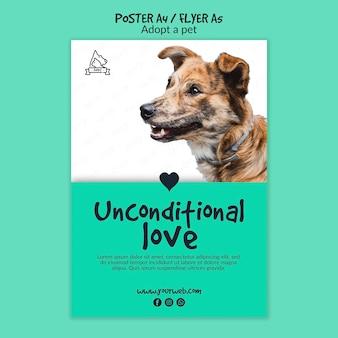 Cartaz com design de adoção de animais