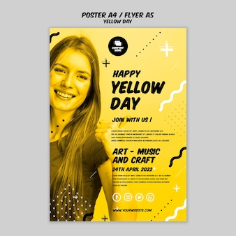 Cartaz com estilo dia amarelo