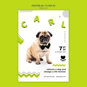 Cartaz com modelo de adoção de animais