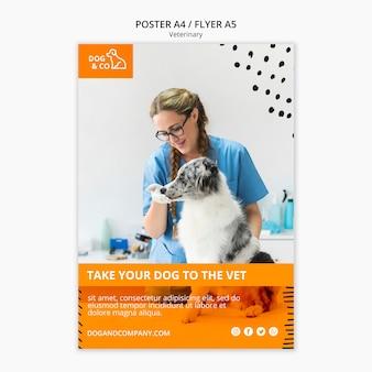 Cartaz com modelo veterinário