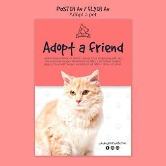Cartaz com o conceito de adoção de animais