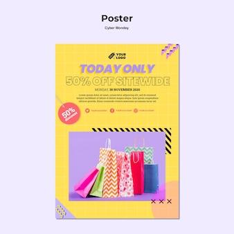 Cartaz criativo de segunda-feira cibernética com foto