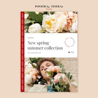 Cartaz da coleção de moda primavera verão e modelo de design de folheto