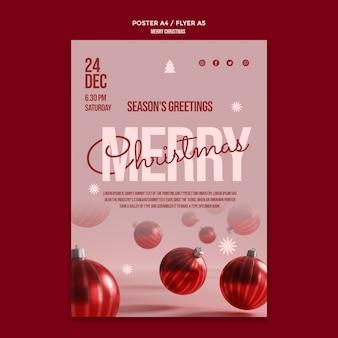 Cartaz da festa de feliz natal com globos