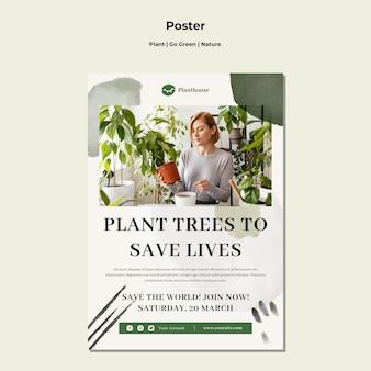 Cartaz da planta vai verde natureza