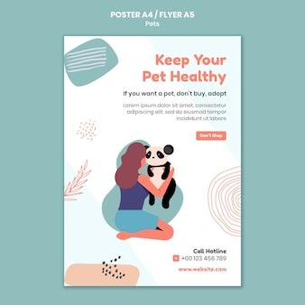 Cartaz de animal de estimação e modelo de design de folheto