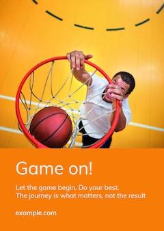 Cartaz de anúncio motivacional de modelo de esportes de basquete psd