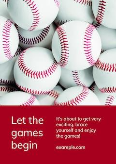 Cartaz de anúncio motivacional de modelo de esportes de beisebol psd