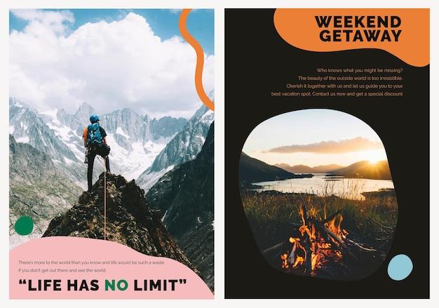 Cartaz de anúncio psd do modelo de marketing da montanha de viagens para agências de conjunto duplo