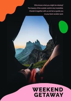 Cartaz de anúncio psd do modelo de marketing da montanha de viagens para agências