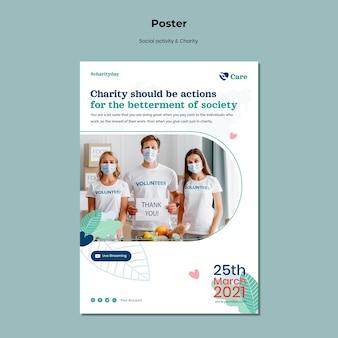 Cartaz de atividade social e caridade