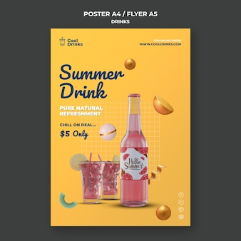 Cartaz de bebidas de verão com suco puro
