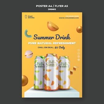 Cartaz de bebidas de verão puro refresco